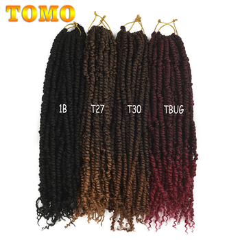 TOMO Passion Twist Crochet Hair 18 Inch Pre-looped Synthetic Crochet Braids Hair Extensions Ombre Braiding Hair Black Brown Red 5