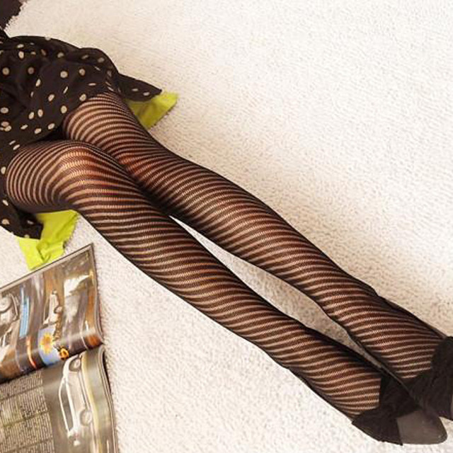 Women's Striped Elastic-Waist Tights