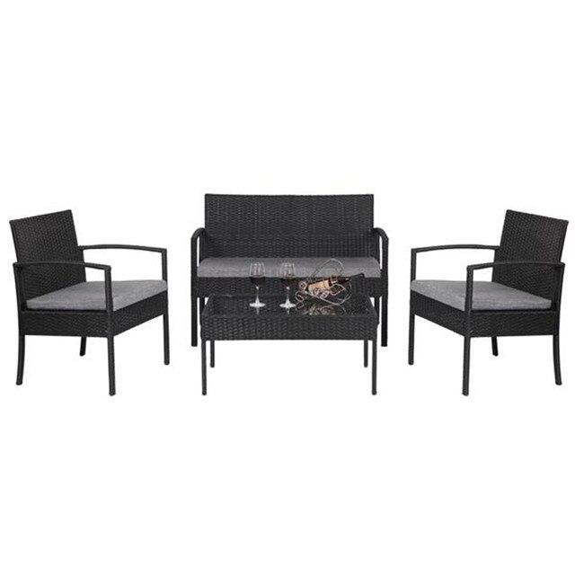 4 PCS Outdoor Patio Rattan Wicker Furniture Set 4