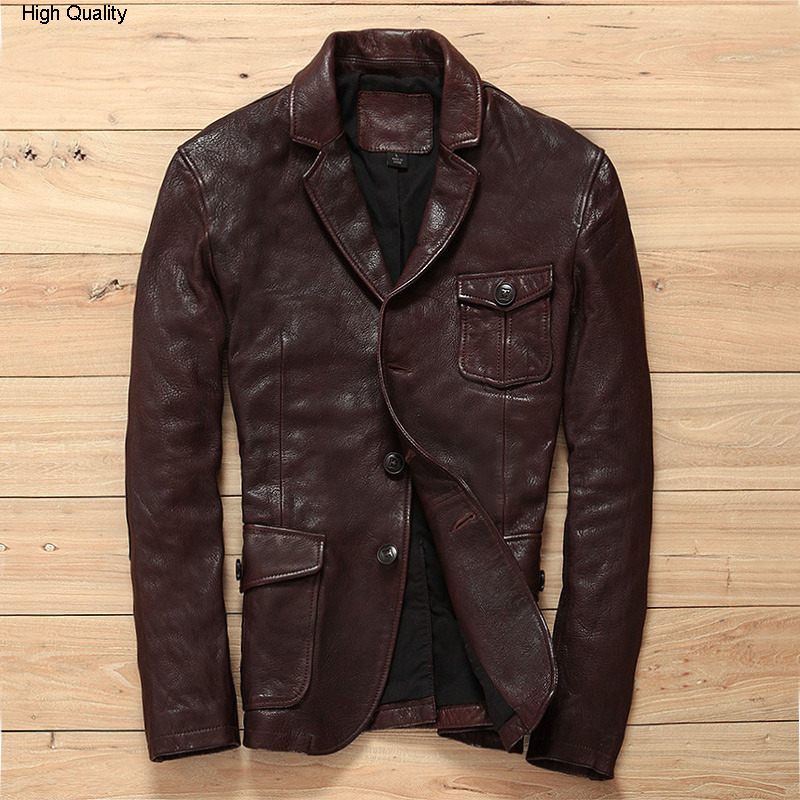 Classic Smart Causal Genuine Leather Suits Men Korean Fashion Advanced Sense Goat Leather Jacket For Men Slim Fit Blazers Male