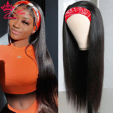 Queen Hair Headband Wig Human Straight Hair Glueless Full Wig with Bangs Free Headband Scarf Glueless Wig Brazilian Remy Hair