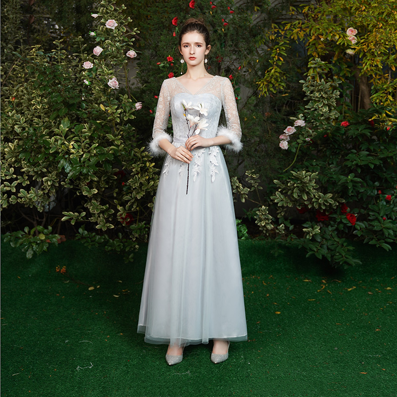 V-neck Gray Long Tulle Bridesmaid Dress Sister Vestido Largo Sirena Elegant Dress Women For Wedding Party Sexy Prom Dress Simple