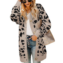 Vintage Leopard Women Long Cardigan Autumn Winter Casual Single Breasted Knitted Sweater Lantern Sleeve Button Coat