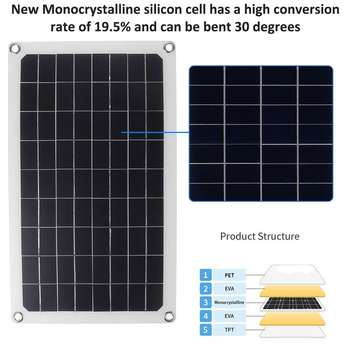 30W/50W/60W/70W Solar Panel Dual USB Output Solar Cells Solar Panel 10/20/30A Controller for Car Yacht 12V Battery Boat Charger 5