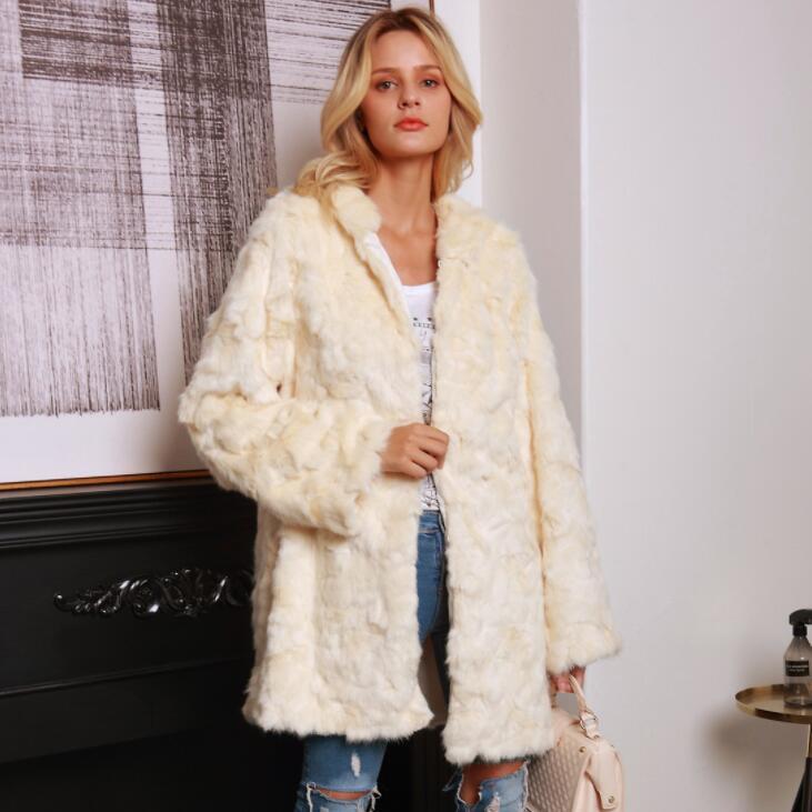 Autumn faux mink   leather   jacket womens winter Medium long hooded warm fur   leather   coat women slim jackets jaqueta de couro