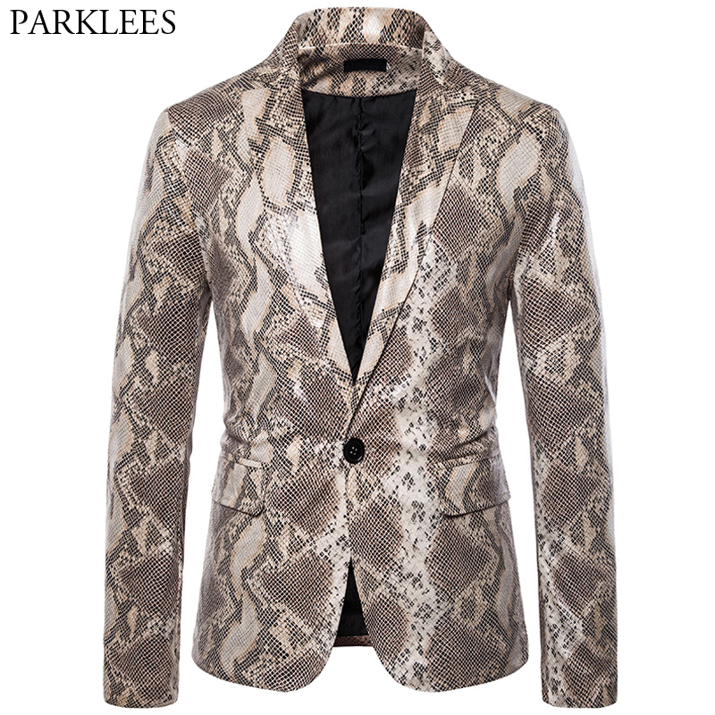 Sexy Snake Pattern Men Blazers Ugly Print One Button Blazer Men Nightclub Festival Party Stage Mens Suit Jacket Blazer Masculino