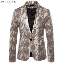 Suit Jacket Blazer Mens Stage Snake-Pattern Print Party One-Button Nightclub Masculino