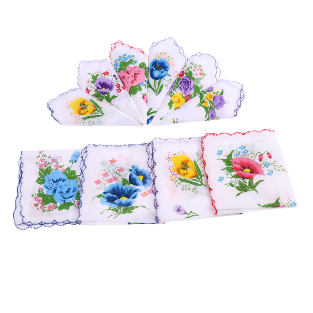 10pcs Women 100% Cotton White Handkerchiefs Assorted Colourful Flowers Gift Pocket Floral Square Hanky