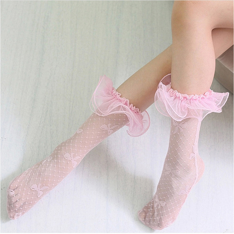 Летние модные сетчатые носки принцессы с кружевными оборками для маленьких девочек детские дышащие длинные носки для девочек