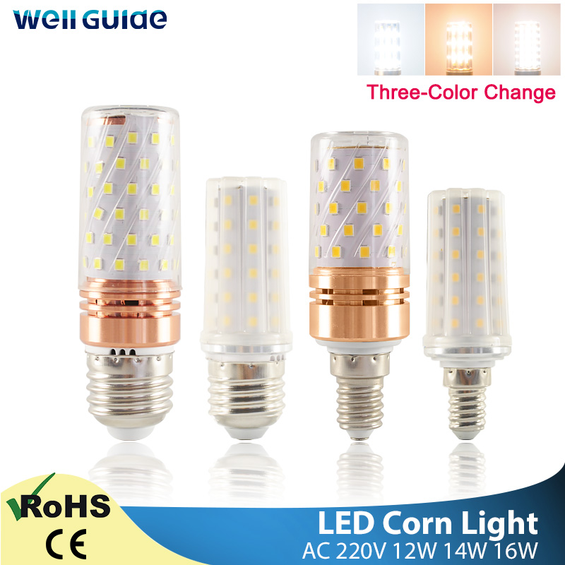 E27 LED Bulb E14 LED Lamp Corn Bulb 3W 12W 14W 16W SMD2835 AC 220V 240V Chandelier Candle LED Light For Home Decoration