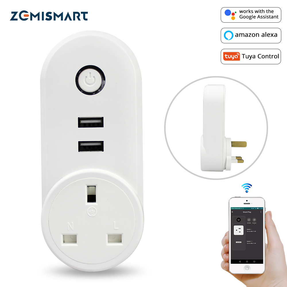 Smart WiFi Power UK Plug Outlet Socket With USB Tuya App Control Timer Function Work With Alexa Google Home Assistant