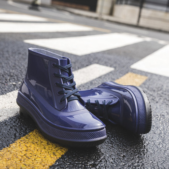 Excargo Men Ankle Boots Rubber Shoes Rainday Rainboots 2020 New Pvc Rain Boots for Men High Top Black Shoes Waterproof hot shoes men boots fashion rainboots slip water shoes short rubber rain boots men bot garden fishing boots waterproof for men