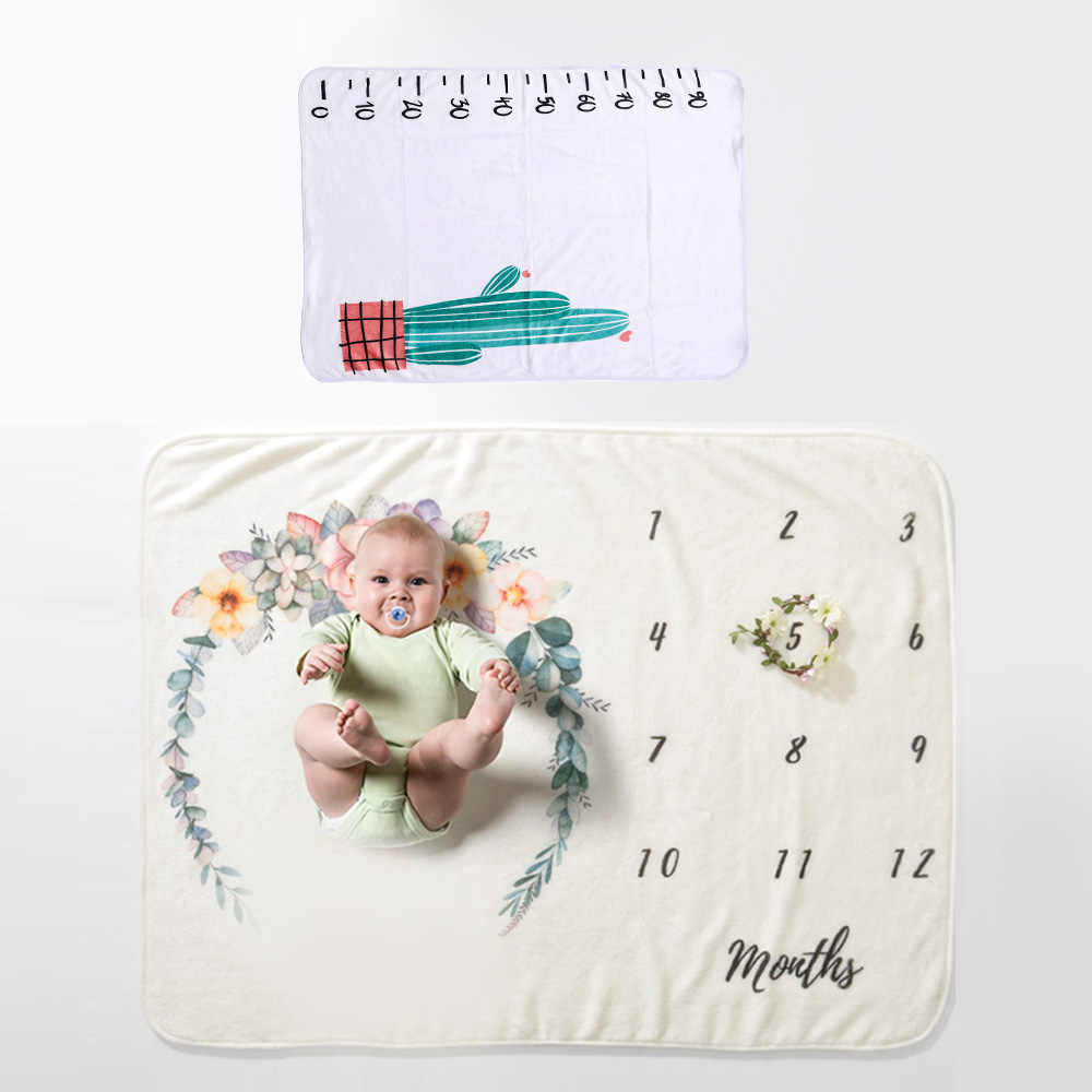 Newborn Baby Monthly Growth Milestone Blanket Photography Props Background Cloth Commemorate Rug Gift Skin-friendly Kids Blanket