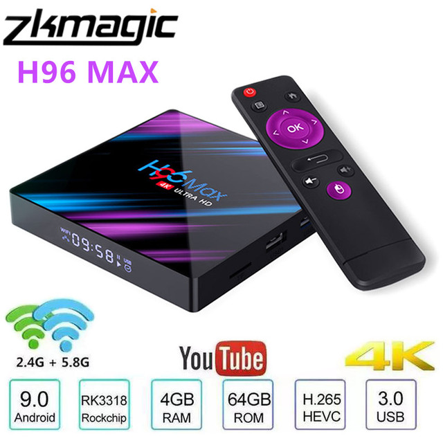 Android 10.0 Tv Box H96 MAX Rockchip 32GB 64GB Android Set Top Boxบลูทูธ2.4/5.0G WiFi 4K 3Dสมาร์ททีวีMedia Google Player
