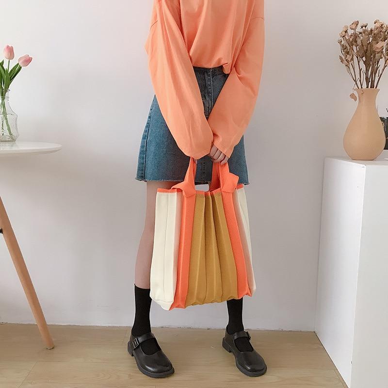 Shoulder Bag Women Pleated Tote Handbag Knitted Patchwork Crossbody Sling Bag Female Fashion Shopper Handbag Purple Orange New