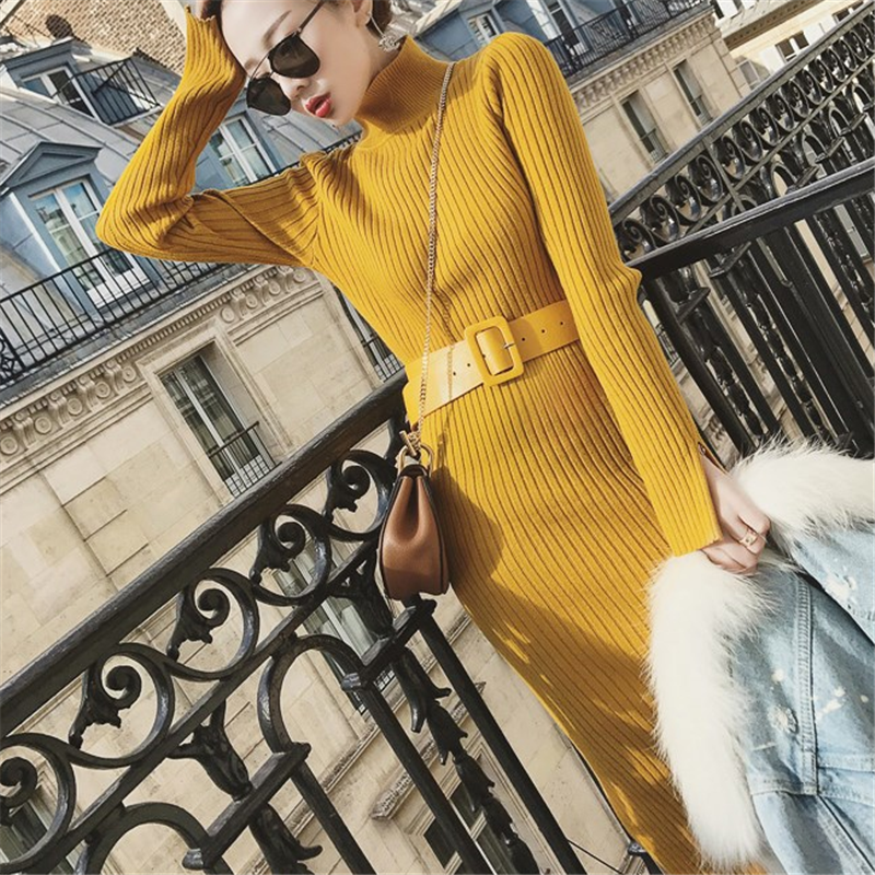 Korean Fashion Woman Sweater Dress Elegant Women Knitted Bodycon Dress Plus Size Woman High Waist Sweater Split Dresses Vestidos
