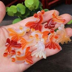 3 adet doğal akik oyma narin küçük Goldfish kolye kolye moda aksesuarları şanslı muska hediyeler erkekler için kadın
