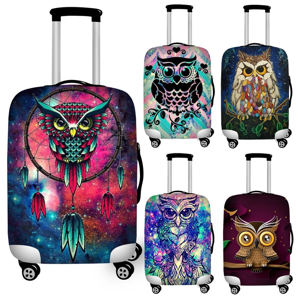 Twoheartsgirl Art Cartoon Owl Print Travel Luggage Protective Dust Covers Elastic 18''-32'' Suitcase Cover Waterproof Covers
