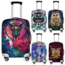 Twoheartsgirl Art Cartoon Owl Print Travel Luggage Protective Dust Covers Elastic 18''-32'' Suitcase Cover Waterproof Covers(China)