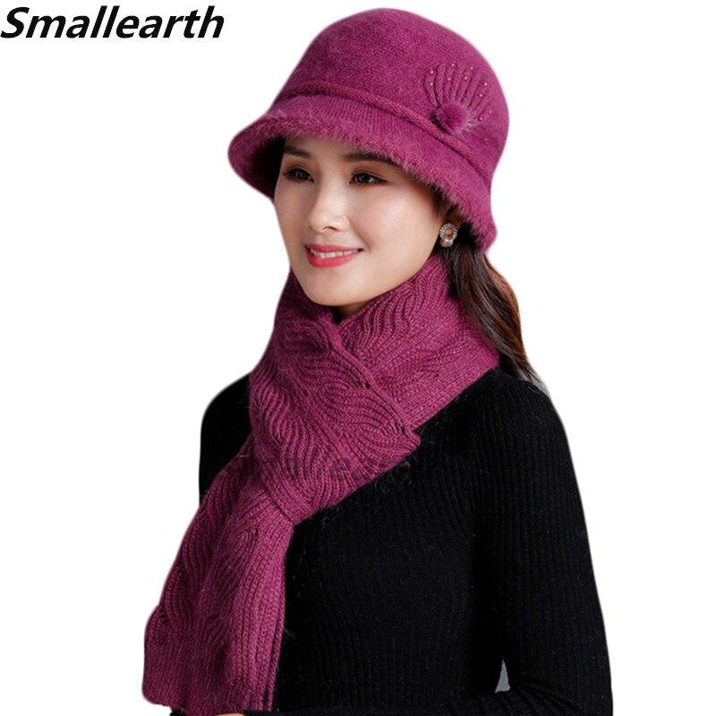 New Winter Women Rabbit Fur Hat Scarf Set Warm Wool Knitted Plush Hat Scarf Sets Crochet Bonnet Lady Mom Caps Long Scarf Shawl