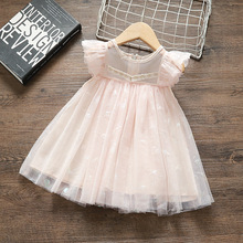Summer Girls Dresses Flare Sleeve Princess Dress Lace Party Dress Wedding Dress Ball Gown pink 0-4Y baby girl dress pink flower sleeveless ball gown princess wedding dresses girls baptism 1 year vestido infantil 6m 4y