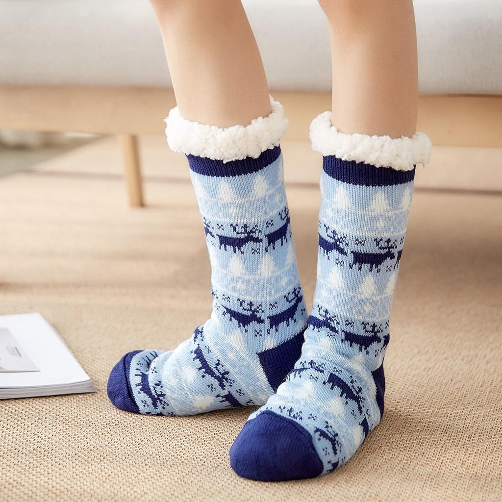 Christmas Women Cotton Socks Vintage Print Thicker Anti-slip Soft Floor Socks Carpet Socks