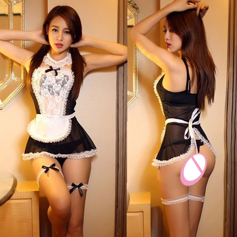 Maid Uniform Costumes Role Play 2016 Women Sexy Lingerie Hot Sexy Underwear Lovely Female White Lace Erotic Costume
