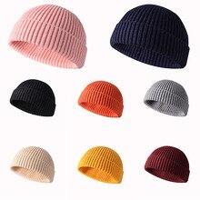 גברים Knittid כובע מוצק צבע נשים כפת כובע רטרו קצר פסק זוג כובעי חורף חיצוני חם Skullies בימס חורף כובעים
