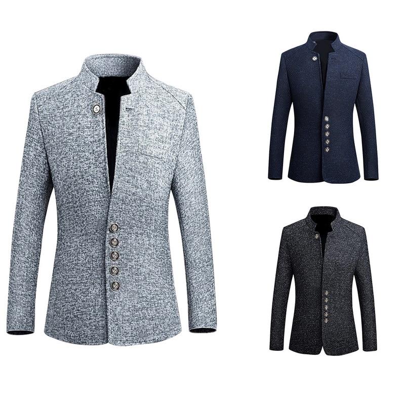 Men Winter Blazer Coats Stand Collar Jackets Coats Autumn Winter Blazer Outwears Solid Color Breasted Men Long Blend Jacket 2019