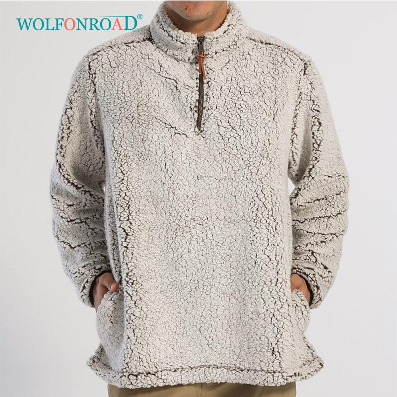 Wolfonroad 1/4 zip fuzzy sherpa pulôver camisola do esporte masculino macio casaco de lã quente homem casaco de lã camisola
