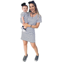 Mom and Daughter Dress NEW Family Matching Mother&Daughter Women Baby Girls Striped Cotton Dress Casual Clothes Summer Outfits jy1889 summer fashion beach little girls dress casual lady dress family matching outfits clothes mother daughter baby girl dress