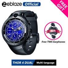 "[Gratis Tws Oortelefoon] Zeblaze Thor 4 Dual 4G Smartwatch 5.0MP + 5.0MP Dual Camera 1.4 ""Aomled gps/Glonass 1 Gb + 16 Gb Smart Horloge Mannen"