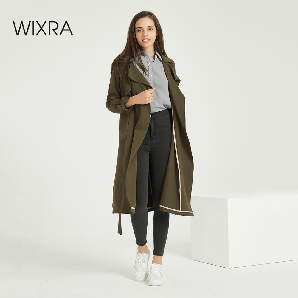 Wixra Women Casual Solid Classic Outwear With Sashes Trendy Office Coat Casual Long Trench Autumn Spring