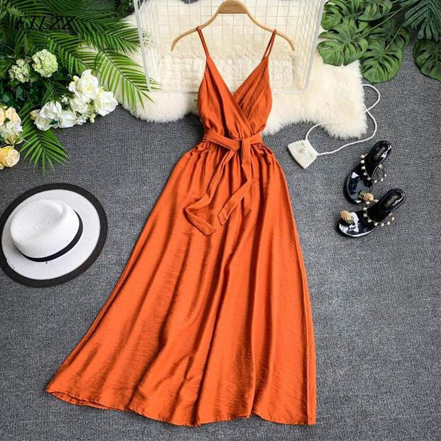 Maldives Holiday Dress Sexy Backless Straps V-neck Dress Women Solid Color Thai Seaside Maxi Long Big Swing Fairy Dress