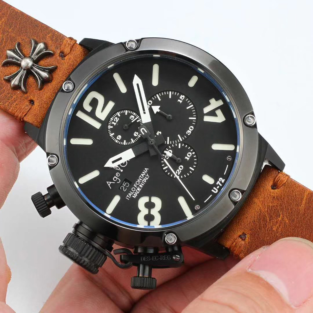 Brand New Quartz Chronograph Stopwatch Men U CHRONOMETER U1001 U72 Chimera Aged Brown Cow Black Leather Boat Watch Sapphire AAA+