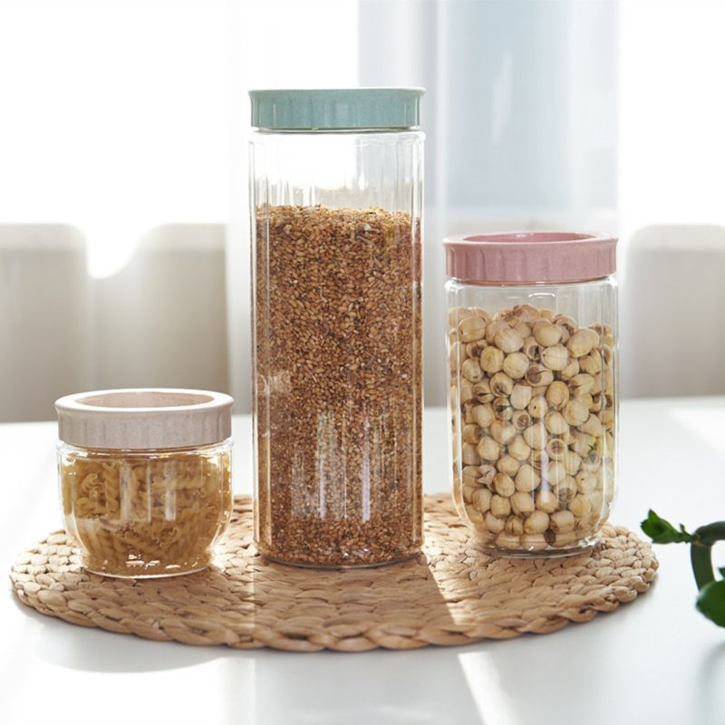 Kitchen Transparent Food Storage Container With Lids Durable Seal Pot Cereal Grain Bean Rice Sealed Plastic Milk Powder Jar