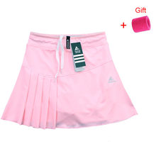 New Tennis Skort Skirts Ladies Running Sports Skirt with Pocket and Safety Shorts Solid Color Badminton Clothing(China)
