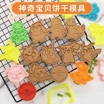 9Pcs Pokemon Cookie Cutters 3d Cartoon Skull Mold Plastic Pressing Fun Baking Unicorn Mould Prop