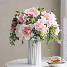 Rose Bouquet Artificial Peony Silk Flowers DIY Pink Hydrangea Plastic Fake Flowers Home Wedding Decoration Table Centerpieces