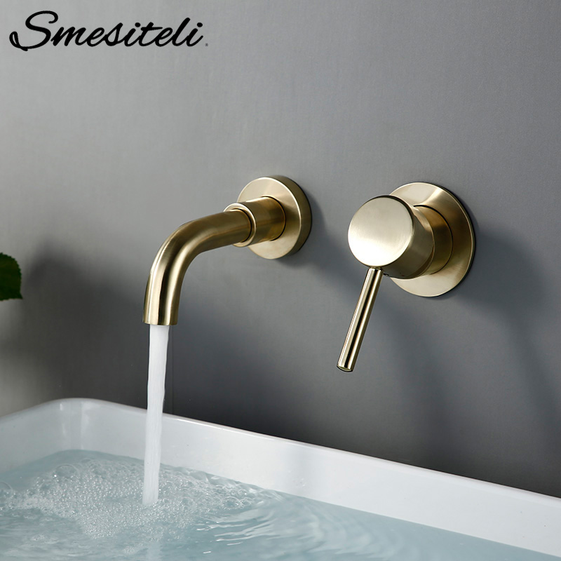 High Quality Modern 1 Basin Faucet 15 CM Single Handle 2 Hole Hot And Cold Mixer Taps In Wall-Mounted Water Tap In Brushed Gold