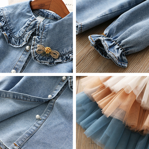 Image 5 - IYEAL Girls Clothing Sets 2020 New Spring Kids Clothes Long Sleeve Denim Shirts+Tutu Cake Skirt 2Pcs Children Toddler Outfit