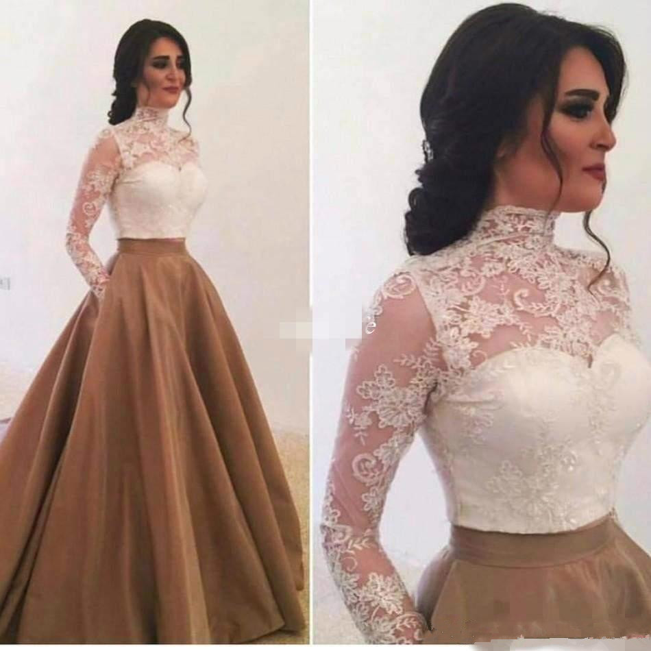 2019 Mother Of The Bride Dresses High Neck Illusion Long Sleeves Lace Appliques Two Pieces Evening Gowns Wedding Guest Dress