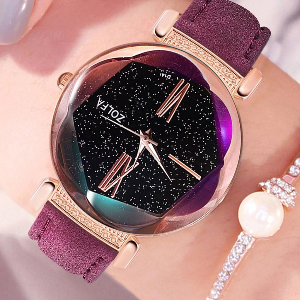 Top Brand Women Watch Dial Starry Sky Analog Quartz Wristwatches Ladies Soild Color Leather Strap Clock Sleek Zegarki Damskie#L