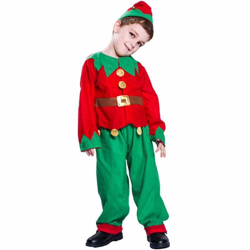 Kids Adults Christmas Elf Santa Helper Fancy Dress Party Costume Family Matching