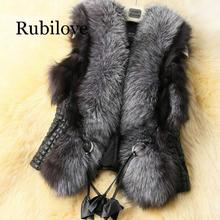 Rubilove Winter Black Faux Fur Vest Warm Jacket Coats for Women Sleeveless Tank Tops Sashes Plus 2019 Spring
