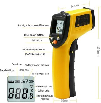 Infrared Thermometer (Not for Human) Temperature Gun Non-Contact Digital  Pyrometer Laser Thermometer-58℉ to 716℉ (-50 to 380℃) 2