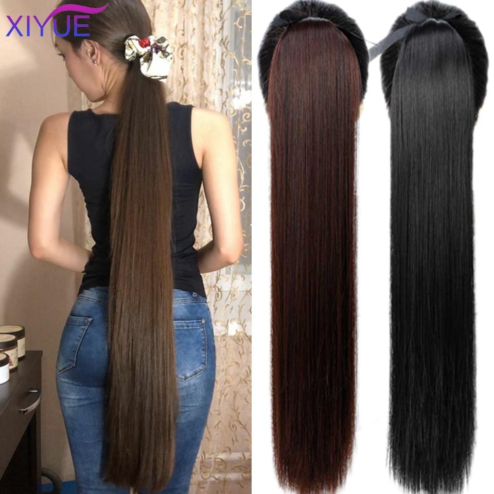 Супер длинный прямой хвост 85 см, накладные волосы, хвост, шиньон с Заколкой, синтетический удлинитель конского хвоста для женщин