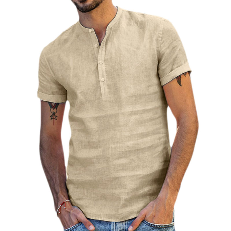 Men's Shirts Linen Summer Mens Fashion 2020 White Top Men Shirts Short Sleeve Clothes Male Clothing Tops #w