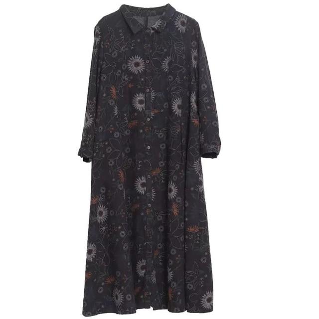 NYFS 2020 New Autumn Woman Dress Loose Vintage Cotton Printing  long Dress vestido de mujer Robe Elbise women's dress 5