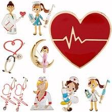 Значок медицинский эмалированный брошь на булавке с милыми персонажами